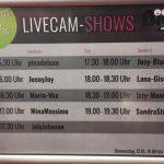 Sendeplan der Livecam Shows